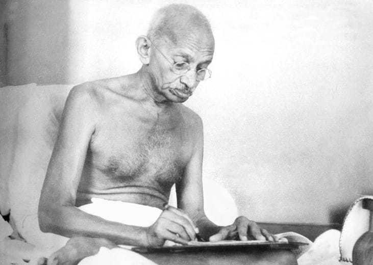 Gandhi drafting a document at Birla House, Mumbai. August 1942.