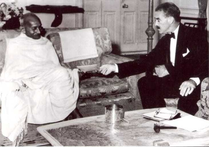 Mahatma Gandhi with his Excellency Mr. R.G. Casey, Governor of Bengal, during their meeting at Calcutta, December 1945.