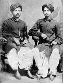 Mahatma Gandhi (right) with his elder brother, Laxmidas, 1886.