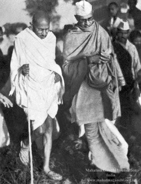 Gandhi with Mahadev Desai at Devagram. 1942.