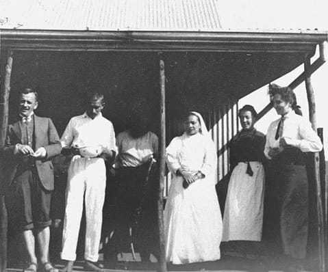 Mahatma Gandhi, Kasturba Gandhi, Sonia Schlesin (extreme right) and others on Tolstoy Farm, June 1912
