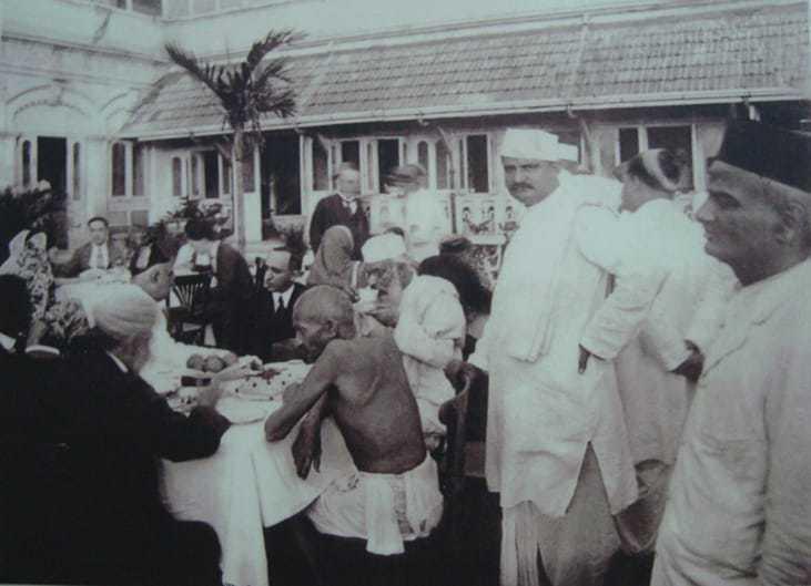 Mohandas Gandhi at Garden party. 1924.