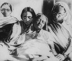 Kasturba Gandhi's last breath at Aga Khan Palace, Poona, February 22, 1944. Kasturba passed away in Bapu's lap. She had been ailing for months. Bapu had seen many deaths. But Kasturba's death hit him the hardest.