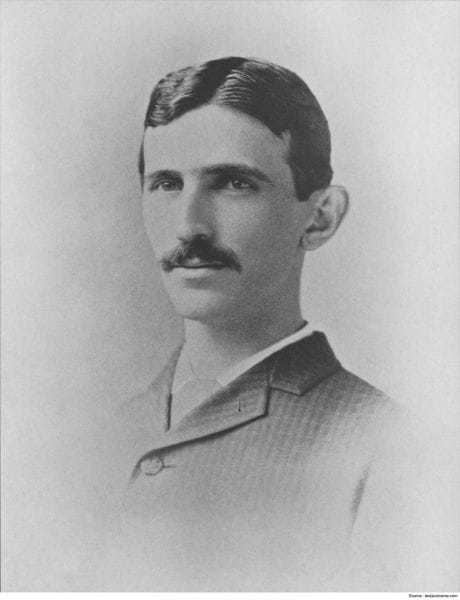 Nikola Tesla in 1885, aged 29