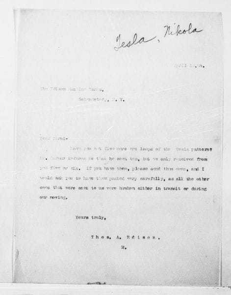 Nikola Tesla, letter to Edison (1888)