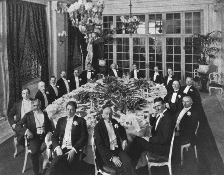 A 1910 banquet honoring Mr. Henry Clews, newly elected as president of the American Civic Alliance, with the Board of Governors. Tesla is second from the right.
