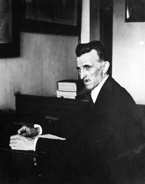 Tesla working in his office at 8 West 40th Street.