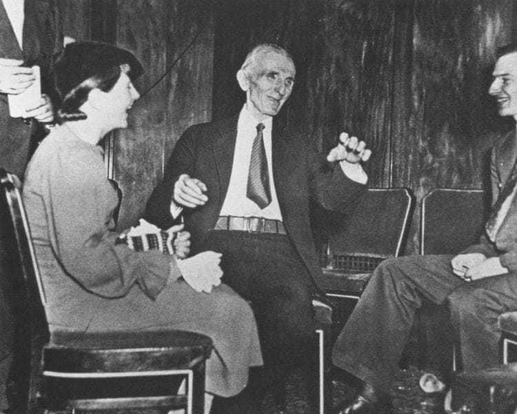 """Tesla, """"Illustrious dean of inventors,"""" being interviewed by reporters, January 10, 1935."""