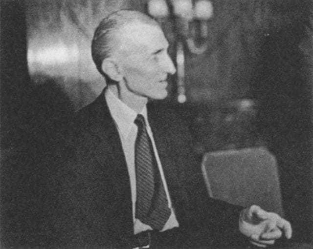 The first of four candid photos taken of Tesla at a press conference at the Hotel New Yorker July 10, 1935, his seventy-ninth birthday.