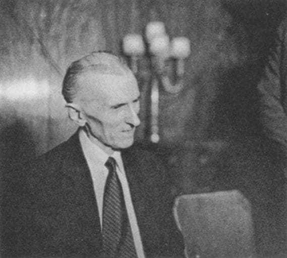 The second of four candid photos taken of Tesla at a press conference at the Hotel New Yorker July 10, 1935, his seventy-ninth birthday.