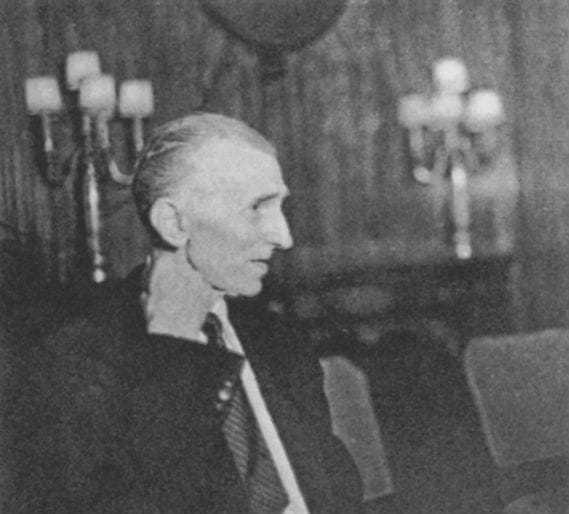 The forth of four candid photos taken of Tesla at a press conference at the Hotel New Yorker July 10, 1935, his seventy-ninth birthday.