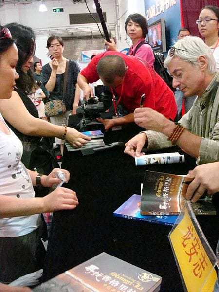 """Laurence Brahm at a book signing in China for his book, """"Searching for Shangri-la""""."""