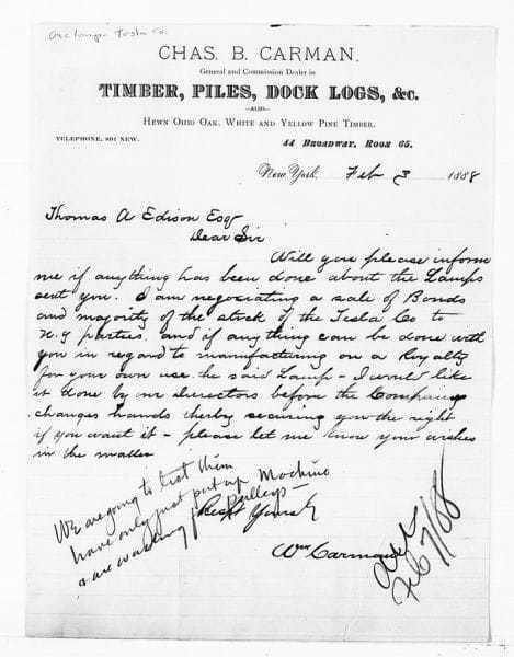 Nikola Tesla, the Carman letter (1888)
