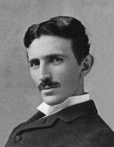 Nikola Tesla, aged 38, at the height of his fame.