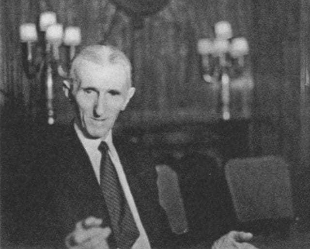 The third of four candid photos taken of Tesla at a press conference at the Hotel New Yorker July 10, 1935, his seventy-ninth birthday.