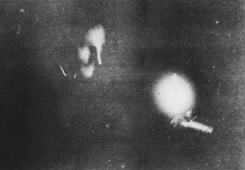 First photograph ever taken by phosphorescent light. The face is that of Mr. Tesla, and the source of light is one of his phosphorescent bulbs. The time of exposure, eight minutes. Date of photograph January, 1894.