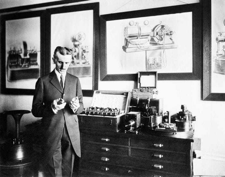 Nikola Tesla in the NYC Lab