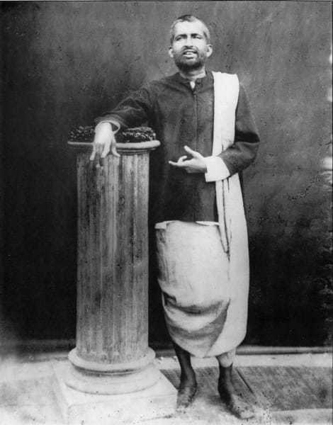 "Photograph of Ramakrishna, taken on 10 December 1881 at the studio of ""The Bengal Photographers"" in Radhabazar, Calcutta (Kolkata)."