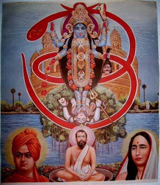 Kali and a prostrate Shiva appear within an OM, and Swami Vivekananda joins the group