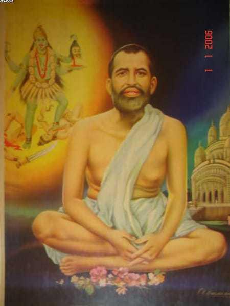 Swami Ramakrishna is shown meditating on Kali, with the Dakshineshwar temple in the background: bazaar art, c.1960's