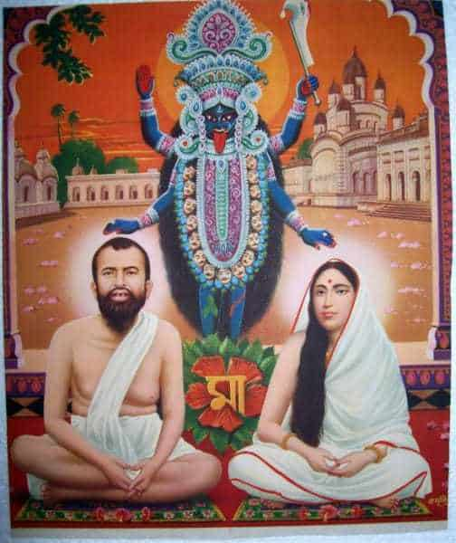 """Kali blesses both Ramakrishna and the Mother, with Dakshineshwar in the background; the Bengali script says """"Ma"""""""