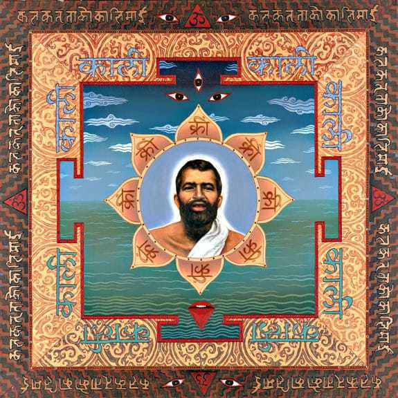 """Shri Ramakrishna is himself an object of meditation, installed in a modern yantra inscribed with """"Kali"""""""