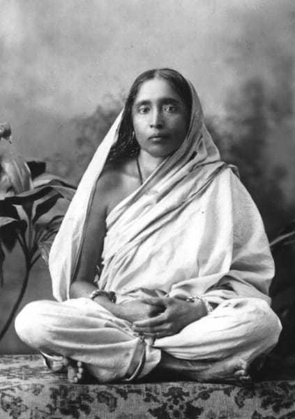 """Shri Ramakrishna and his wife Sharada Devi, known as """"the Mother""""; a photo from Dakshineshwar, 1884"""