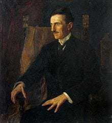 Blue Portrait of Nikola Tesla